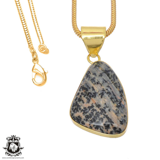Merlinite Dendritic Opal 24K Gold Plated Pendant 3mm Snake Chain GPH764