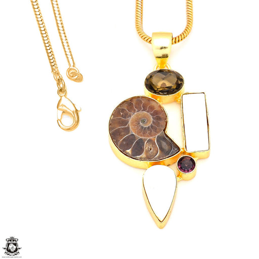 3 Inch Ammonite Mother of Pearl 24K Gold Plated Pendant 3mm Snake Chain GP227