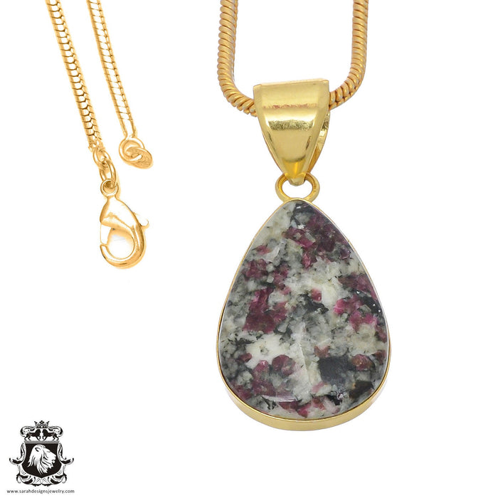 Eudialyte 24K Gold Plated Pendant 3mm Snake Chain GPH773