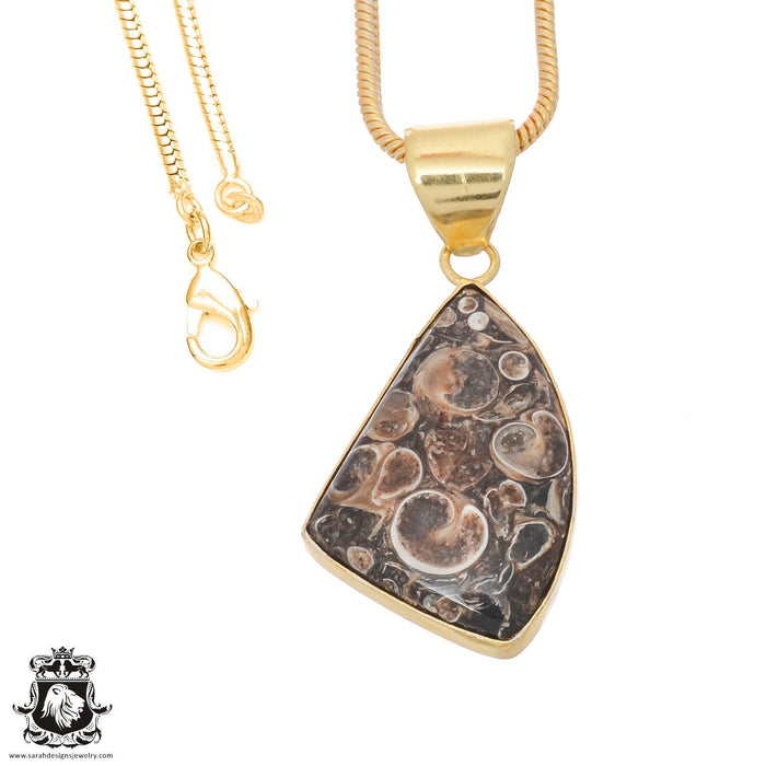 Turritella Agate 24K Gold Plated Pendant 3mm Snake Chain GPH748