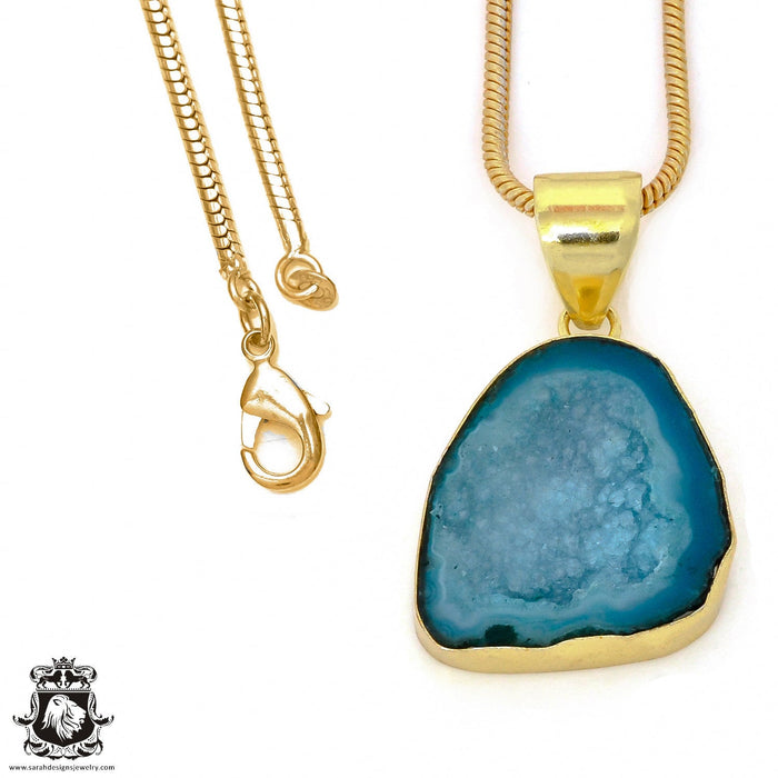 Tabasco Geode 24K Gold Plated Pendant 3mm Snake Chain GPH953