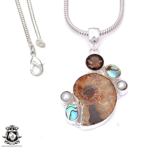 Ammonite Pendant 4mm Snake Chain P7867