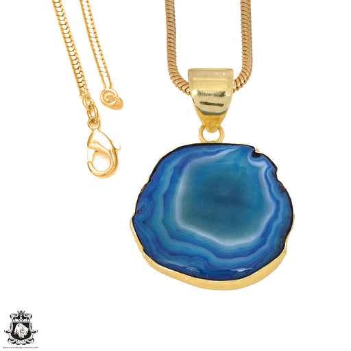 Ocean Blue Stalactite 24K Gold Plated Pendant 3mm Snake Chain GPH1162
