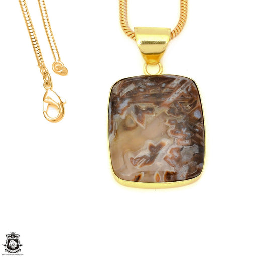 Stick Agate 24K Gold Plated Pendant 3mm Snake Chain GPH1588