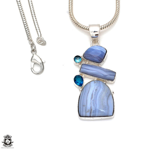 Blue Lace Agate Pendant 4mm Snake Chain P8358