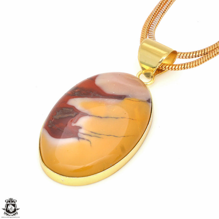 Mookaite 24K Gold Plated Pendant 3mm Snake Chain GPH535