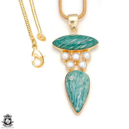 Amazonite Pearl 24K Gold Plated Pendant 3mm Snake Chain GP146