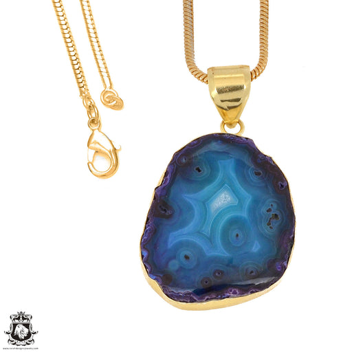 Ocean Blue Stalactite 24K Gold Plated Pendant 3mm Snake Chain GPH1151