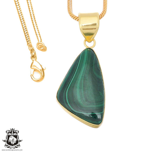 Canadian Malachite 24K Gold Plated Pendant 3mm Snake Chain GPH1378
