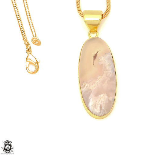 Stick Agate 24K Gold Plated Pendant 3mm Snake Chain GPH1571