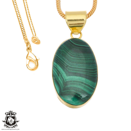 Canadian Malachite 24K Gold Plated Pendant 3mm Snake Chain GPH1386