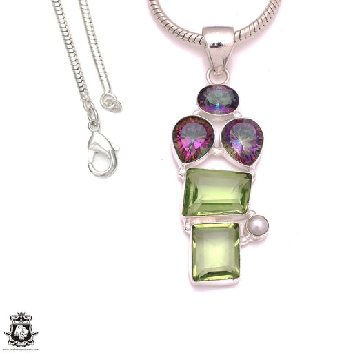 3 Inch 101 Carats Prasiolite Mystic Topaz Pendant 4mm Snake Chain P8295