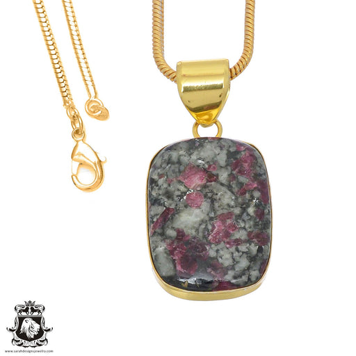 Eudialyte 24K Gold Plated Pendant 3mm Snake Chain GPH769