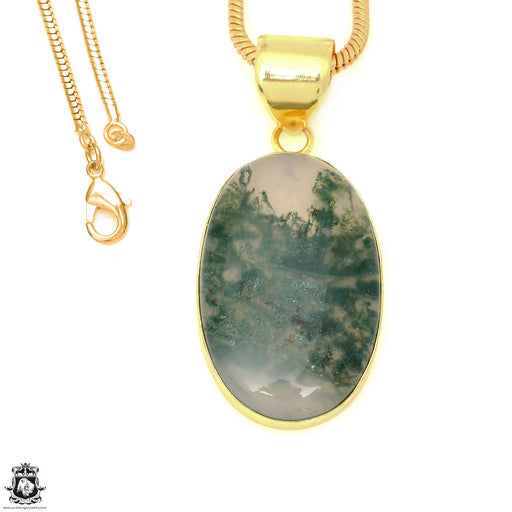 Moss Agate 24K Gold Plated Pendant 3mm Snake Chain GPH1615