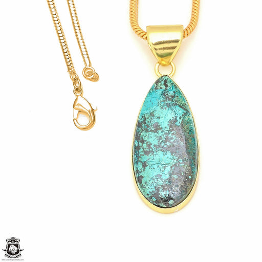 Chrysocolla 24K Gold Plated Pendant 3mm Snake Chain GPH499