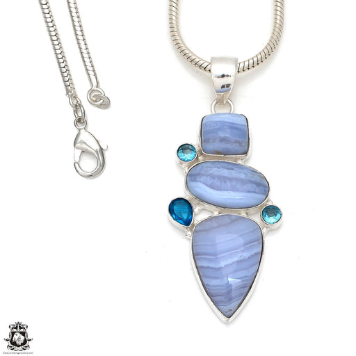 Blue Lace Agate Pendant 4mm Snake Chain P8379