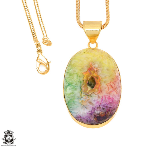 Rainbow Stalactite 24K Gold Plated Pendant 3mm Snake Chain GPH1138