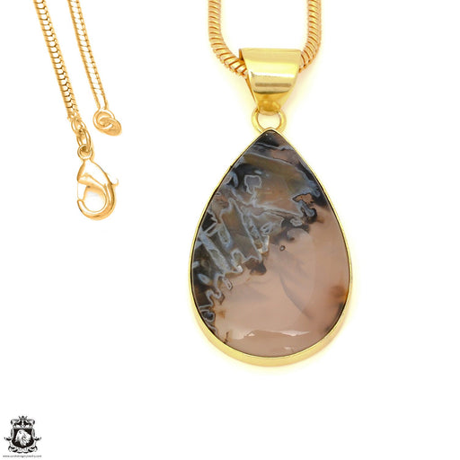 Stick Agate 24K Gold Plated Pendant 3mm Snake Chain GPH1591