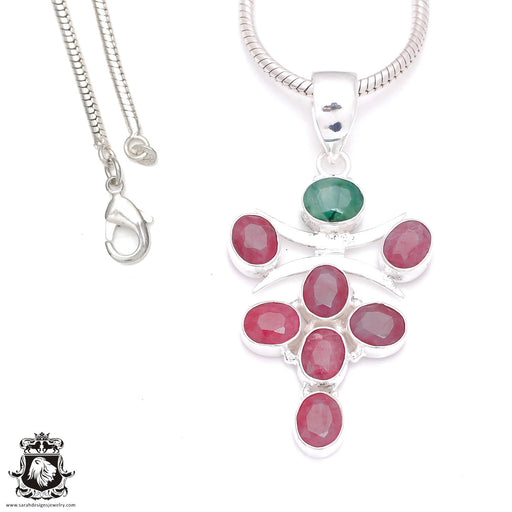 Emerald Ruby Pendant 4mm Snake Chain P7989