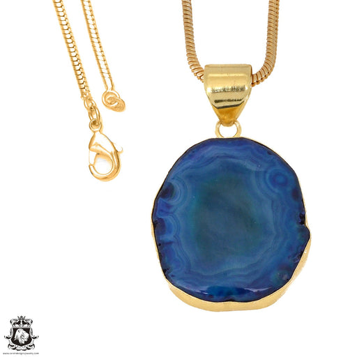 Ocean Blue Stalactite 24K Gold Plated Pendant 3mm Snake Chain GPH1160