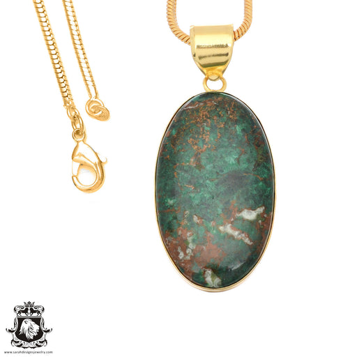Sonora Sunrise Jasper 24K Gold Plated Pendant 3mm Snake Chain GPH1483