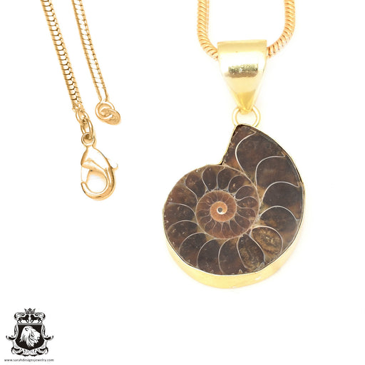 Ammonite 24K Gold Plated Pendant 3mm Snake Chain GPH677