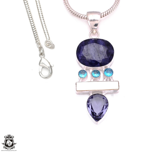 3 Inch Sapphire Pendant 4mm Snake Chain P8123