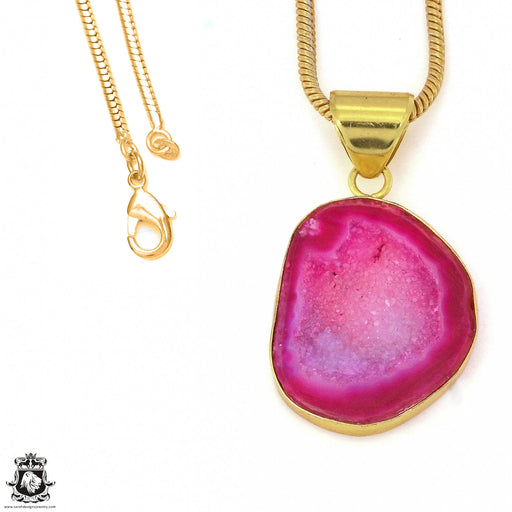 Cobalto Calcite Geode 24K Gold Plated Pendant 3mm Snake Chain GPH1188