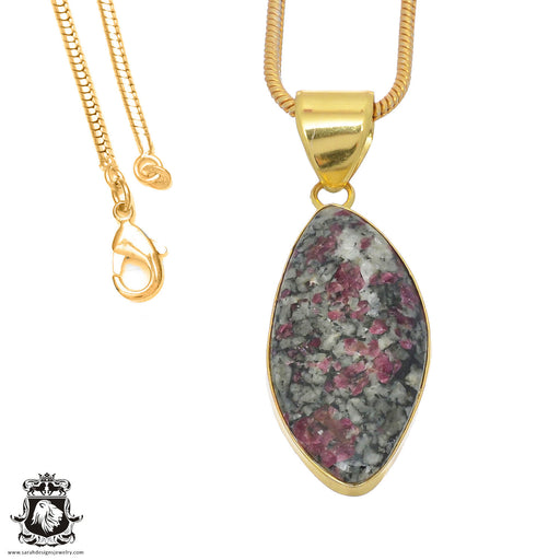 Eudialyte 24K Gold Plated Pendant 3mm Snake Chain GPH770