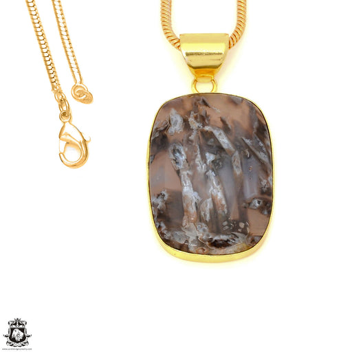 Stick Agate 24K Gold Plated Pendant 3mm Snake Chain GPH1585