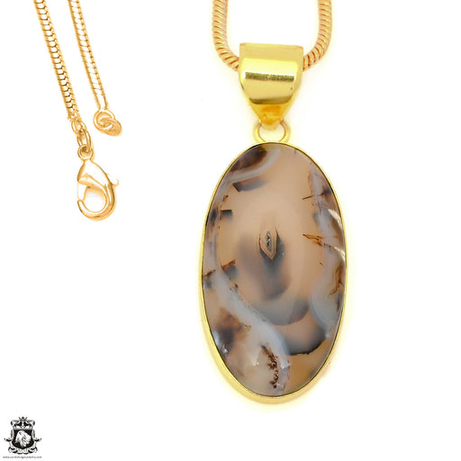 Stick Agate 24K Gold Plated Pendant 3mm Snake Chain GPH1593