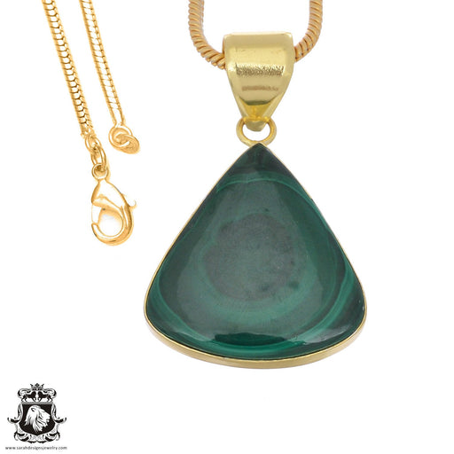 Canadian Malachite 24K Gold Plated Pendant 3mm Snake Chain GPH1381