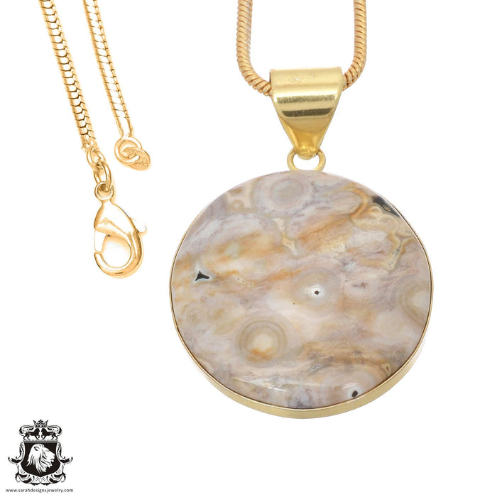Ocean Jasper 24K Gold Plated Pendant 3mm Snake Chain GPH731