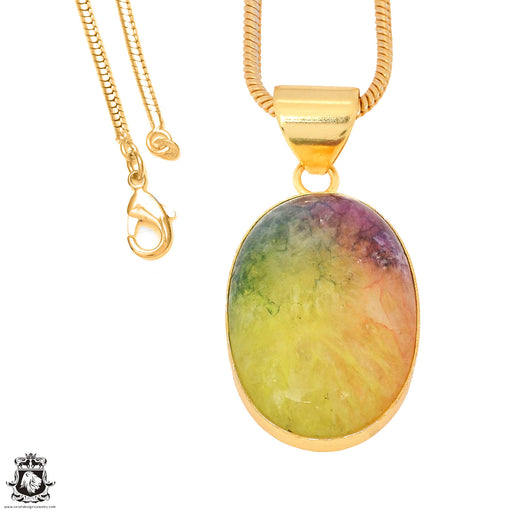 Rainbow Stalactite 24K Gold Plated Pendant 3mm Snake Chain GPH1149