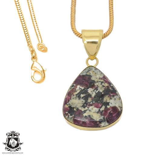 Eudialyte 24K Gold Plated Pendant 3mm Snake Chain GPH772