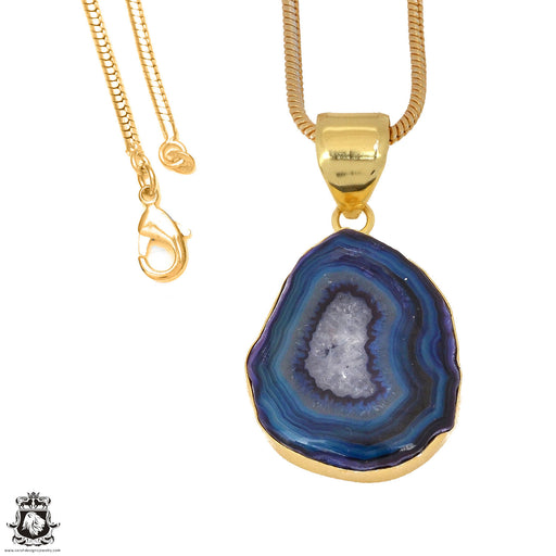 Ocean Blue Stalactite 24K Gold Plated Pendant 3mm Snake Chain GPH1164