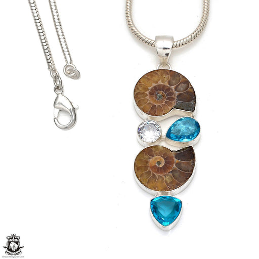 Ammonite Blue Topaz Pendant 4mm Snake Chain P8366