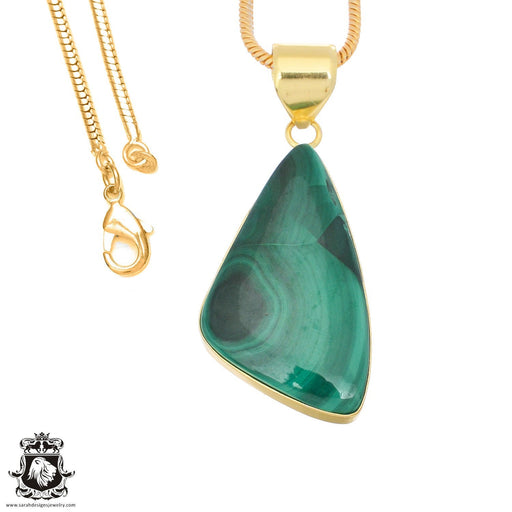 Canadian Malachite 24K Gold Plated Pendant 3mm Snake Chain GPH1387