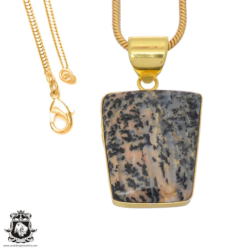 Merlinite Dendritic Opal 24K Gold Plated Pendant 3mm Snake Chain GPH759