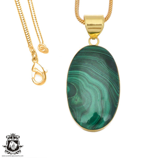 Canadian Malachite 24K Gold Plated Pendant 3mm Snake Chain GPH1375
