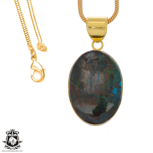 Chrysocolla 24K Gold Plated Pendant 3mm Snake Chain GPH1244