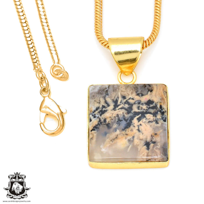 Scenic Agate 24K Gold Plated Pendant 3mm Snake Chain GPH449