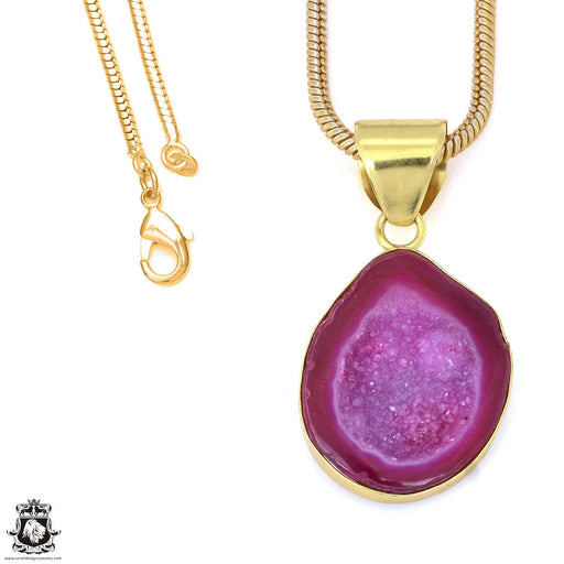 Cobalto Calcite Geode 24K Gold Plated Pendant 3mm Snake Chain GPH1186