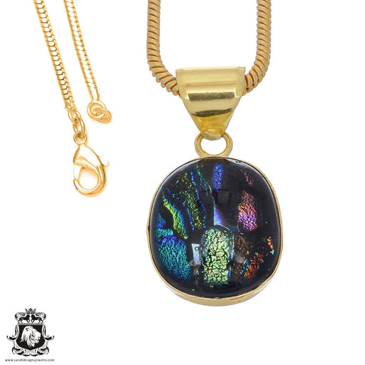 Dichroic Glass 24K Gold Plated Pendant 3mm Snake Chain GPH791