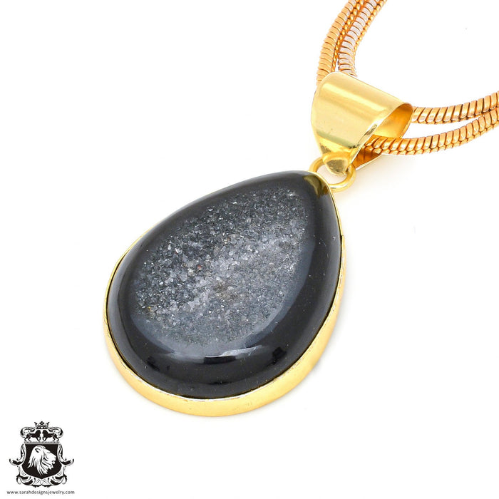 Agate Druzy 24K Gold Plated Pendant 3mm Snake Chain GPH483
