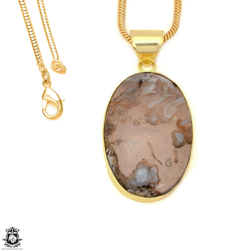 Stick Agate 24K Gold Plated Pendant 3mm Snake Chain GPH1590