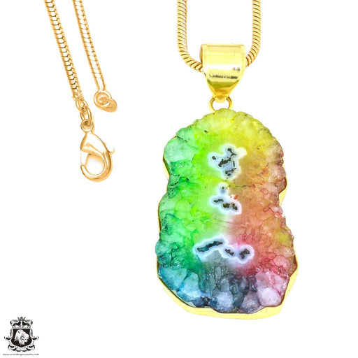 Rainbow Stalactite 24K Gold Plated Pendant 3mm Snake Chain GPH1211