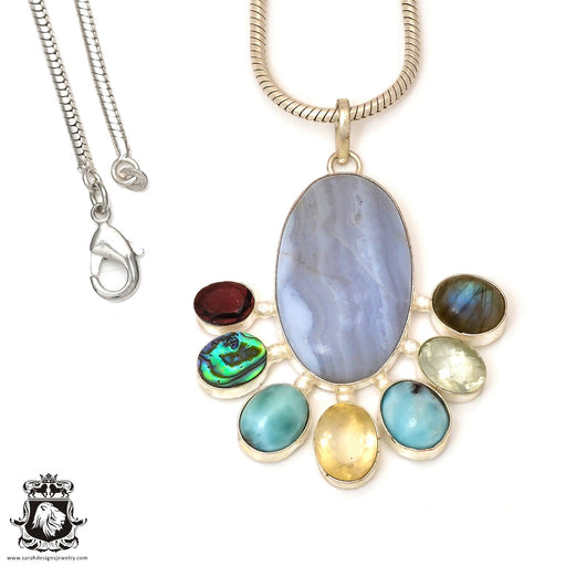 Minor Inclusion Mark! Blue Lace Agate Abalone Pendant 4mm Snake Chain P7555