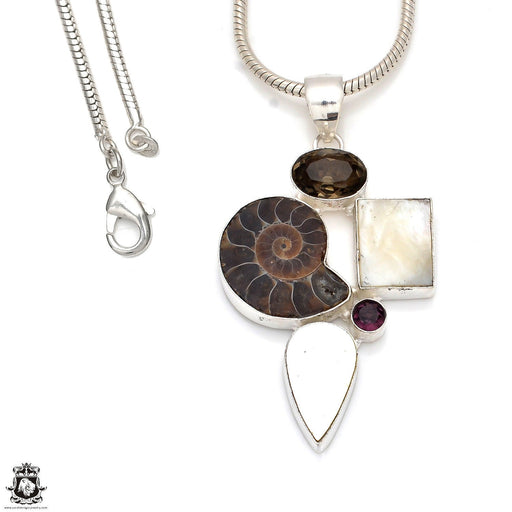 Mother of Pearl Ammonite Pendant 4mm Snake Chain P8359