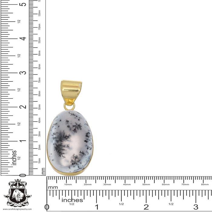Dendritic Opal 24K Gold Plated Pendant 3mm Snake Chain GPH843